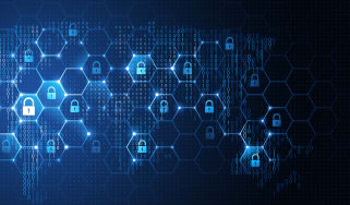 Graphic representing a network and cyber security. A series of hexagons with padlocks inside superimposed over a map of the world.
