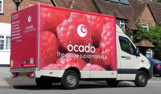 Ocado van parked up for a delivery
