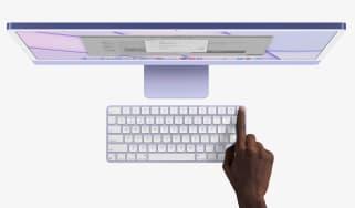 Purple iMac 2021 with all-new Magic Keyboard