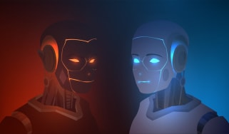 Two robots, one evil and red, one good and blue, facing each other