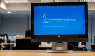 Windows 10 error message displayed on a monitor