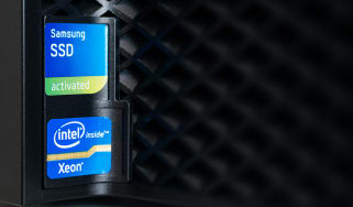 Intel and Samsung stickers on a desktop PC