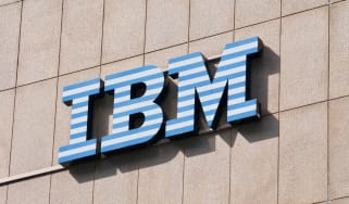 IBM (International Business Machines Corporation) sign hanging on a building in Lugano, Switzerland
