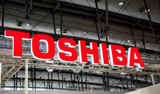 An image of the Toshiba logo at an event