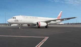 An image of the Airbus A320 parked on the runway