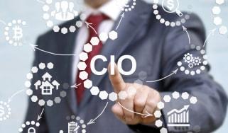 CIO pointing at a digital screen