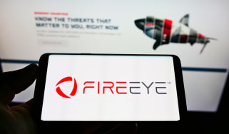 The FireEye logo as seen on a smartphone