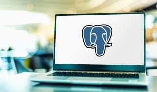 Laptop showing the Postgres logo