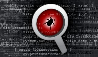 Bug surrounding by computer code and jargon