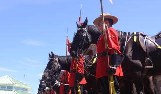 A line of RCMP officers standing next to their horses