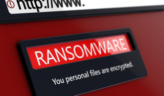 Ransomware warning on a compute screen with a URL address bar above it