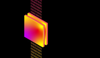 Abstract image of code passing through a filter to symbolise end-to-end encryption