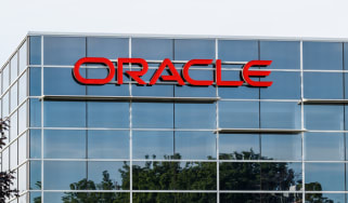 A red Oracle sign on its offices