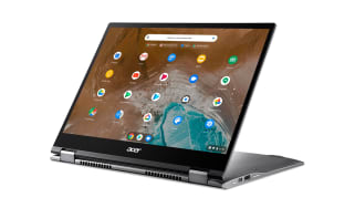 A photograph of the Acer Chromebook Spin 713 in presentation mode
