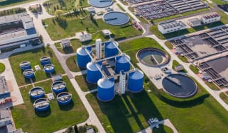 Overhead photograph of a water treatment plant