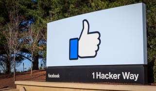 Facebook's thumbs up sign at its US offices