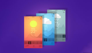 Digital illustrations showing three different views for a weather app