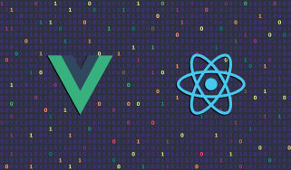 Digital illustration showing the logos for Vue and React on a background of machine code
