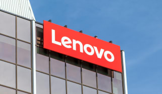The Lenovo sign in red above its offices