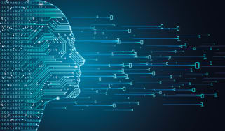Graphic of human face outline filled with circuit board pattern, with ones and zeroes flying away from it