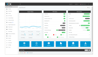 A screenshot of the 3CX Phone System Pro 16 Update 8 dashboard