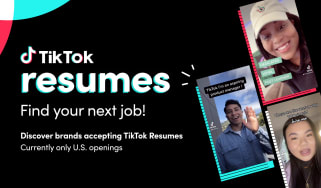 TikTok's advert for its new 'video resumes' service