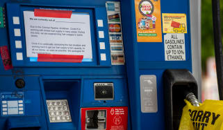 A gas pump put out of action by the cyber attack against Colonial Pipeline
