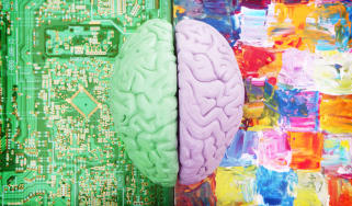 Two halves of a brain, one coloured green on a circuit board, the other coloured light purple on an abstract painting