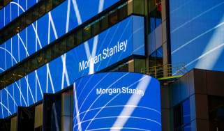 A building showing the logo for Morgan Stanley investment bank