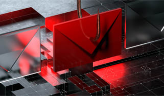 Abstract image of a fishing hook through a red email to represent a phishing attack