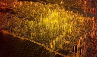 Digital abstract of New York showing a hotspot on Manhattan