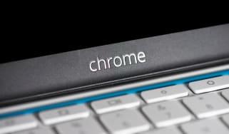 The Chrome logo on a Chromebook
