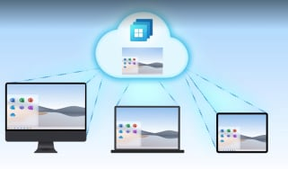 An illustration of three devices that connect to Windows 365 in the cloud