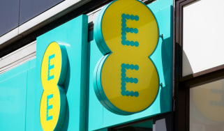 EE mobile network store front on Oxford Street in central London.