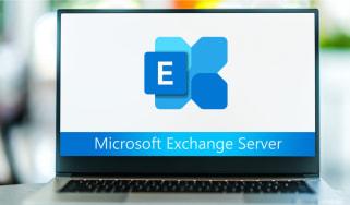 Laptop computer displaying logo of Microsoft Exchange