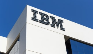 The IBM logo seen on one of its office buildings