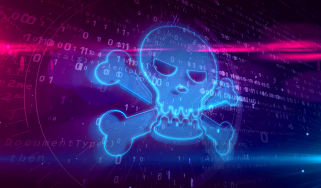 Skull and crossbones on a computerized background
