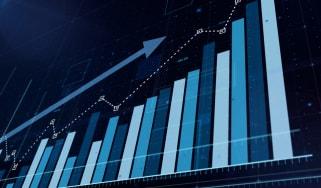 3D blue bar graph rising, sotck market informations