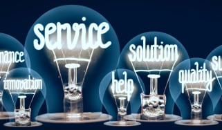 Lightbulbs with the words 'service', 'solution', 'help', 'innovation', and 'quality in them