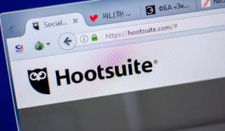 Hootsuite splash screen on a laptop