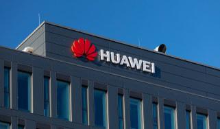 Huawei logo on a building facade