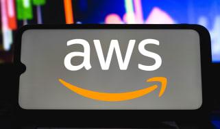 AWS logo displayed on a smartphone