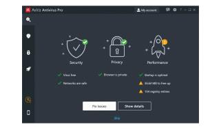 A screenshot of the Avira Antivirus Pro dashboard