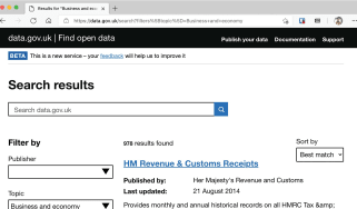 UK government open data portal