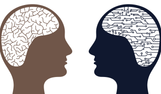 Abstract image showing two heads to symbolise humans and AI coming together