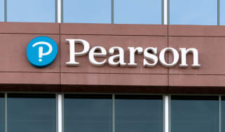 Pearson sign and logo on a building