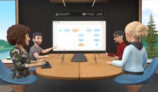 A virtual meeting in Horizon Workrooms