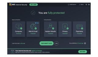 A screenshot of AVG Internet Security's main dashboard
