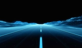 A blue digital road going into the horizon