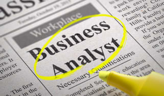 Business analyst ad in a paper circled in yellow highlighter